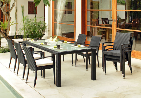 Glass wicker aluminium dining table darwin for Outdoor furniture darwin